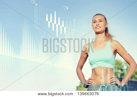 fitness, sport, people, technology and healthy lifestyle concept - happy young woman exercising outside over diagram projection