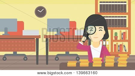 An asian business woman sitting in the office and looking at stacks of golden coins through magnifier. Vector flat design illustration. Horizontal layout.