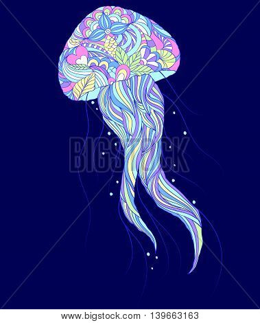 Vector illustration of colorful jellyfish on blue background.