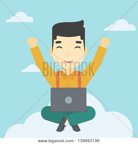 An asian  happy man with raised hands sitting on a cloud with a laptop. Vector flat design illustration. Square layout.