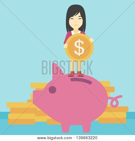 An asian young business woman saving her money by putting a coin in a big piggy bank on a background of stacks of gold coins. Vector flat design illustration. Square layout.