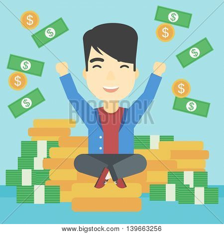 An asian  young businessman with raised hands sitting on golden coins and money flying around. Successful business concept. Vector flat design illustration. Square layout.