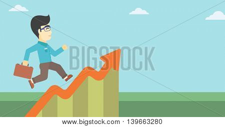 An asian cheerful businessman running along the growth graph. Happy businessman going up. Man moving up. Successful business concept. Vector flat design illustration. Horizontal layout.