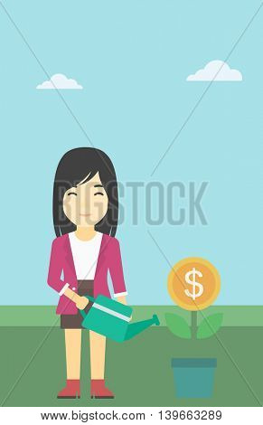 An asian business woman watering a money flower. Successful business concept. Vector flat design illustration. Vertical layout.