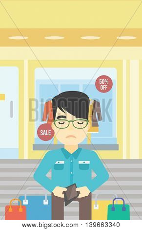 An asian young man showing his wallet purse on the background of showcase of a store. Bankruptcy concept. Vector flat design illustration. Vertical layout.