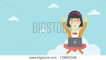 An asian  happy woman with raised hands sitting on a cloud with a laptop. Vector flat design illustration. Horizontal layout.