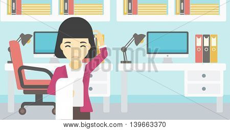Young worried asian business woman standing in the office and holding a long bill. Concept of business bankruptcy. Vector flat design illustration. Horizontal layout.