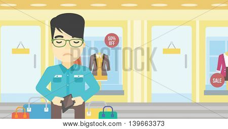 An asian young man showing his wallet purse on the background of showcase of a store. Bankruptcy concept. Vector flat design illustration. Horizontal layout.