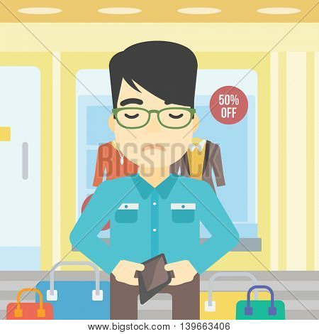 An asian young man showing his wallet purse on the background of showcase of a store. Bankruptcy concept. Vector flat design illustration. Square layout.
