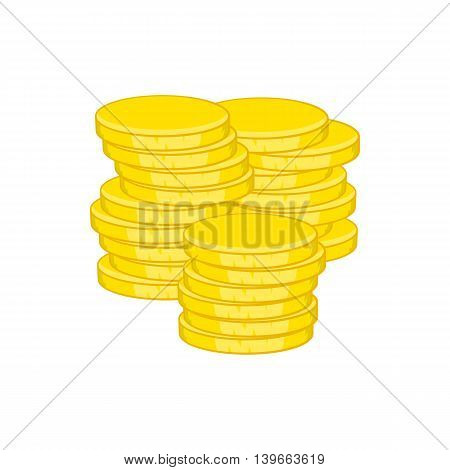 Gold coins icon in cartoon style isolated on white background. Money symbol
