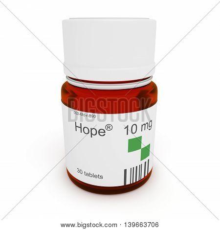 Pill bottle: Hope 10 mg 3d illustration