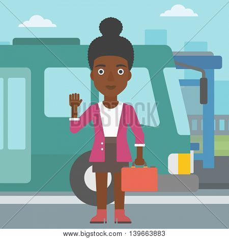 An african-american young woman with suitcase standing at the entrance door of a bus on a city background. Young woman waving in front of a bus. Vector flat design illustration. Square layout.
