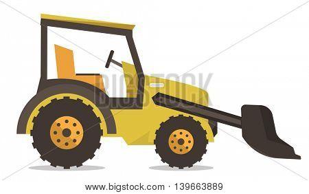 Large yellow bulldozer vector flat design illustration isolated on white background.