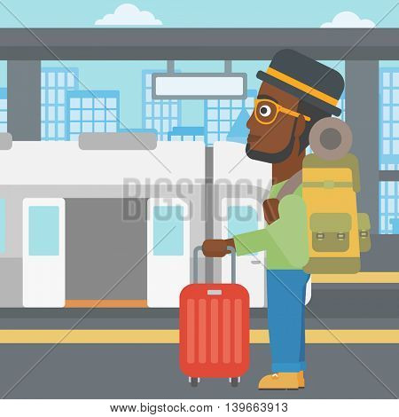 An african-american young man standing at the train station on the background of train with open doors. Young man with suitcase waiting for a train. Vector flat design illustration. Square layout.