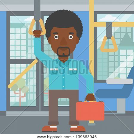 An african-american young man traveling by public transport. Man traveling by passenger bus or subway. Vector flat design illustration. Square layout.