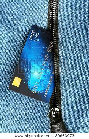 Credit card in pocket, closeup