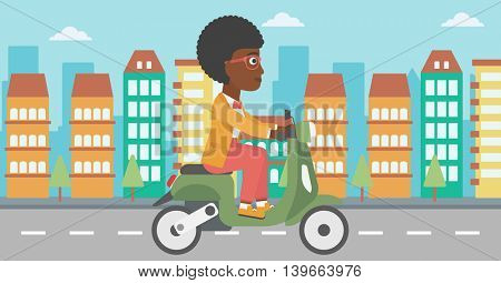 An african-american young woman riding a scooter on a city background. Young woman driving a scooter in the street. Vector flat design illustration. Horizontal  layout.