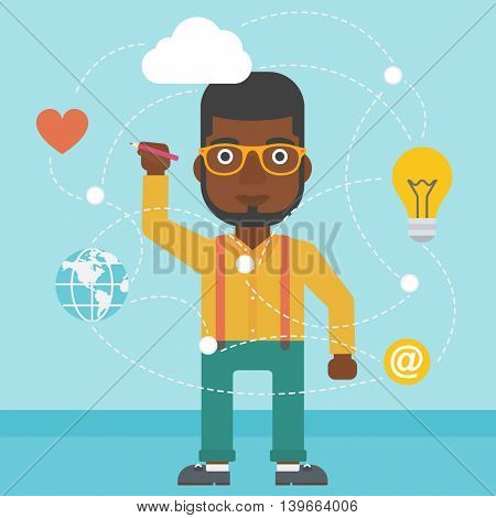 An african-american man writing on a virtual screen. Businessman drawing a cloud computing diagram on a virtual screen. Cloud computing concept. Vector flat design illustration. Square layout.