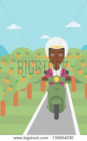 An african-american young woman riding a scooter on the asphalt road through the orchard. Young woman in helmet driving a scooter. Vector flat design illustration. Vertical layout.