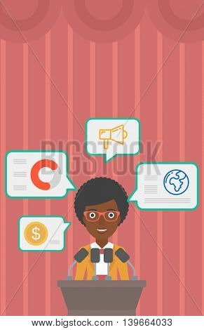 An african-american speaker standing on a podium with microphones at business conference. Woman giving speech at podium and speech squares around her. Vector flat design illustration. Vertical layout.