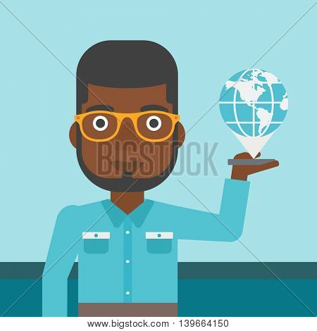 An african-american man holding a smartphone with a model of planet earth above the device. International technology communication concept. Vector flat design illustration. Square layout.