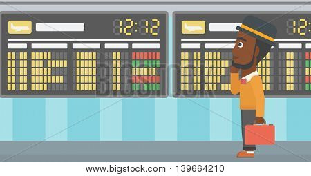 An african-american man with a briefcase looking at departure board at the airport. Passenger standing at the airport in front of departure board. Vector flat design illustration. Horizontal  layout.