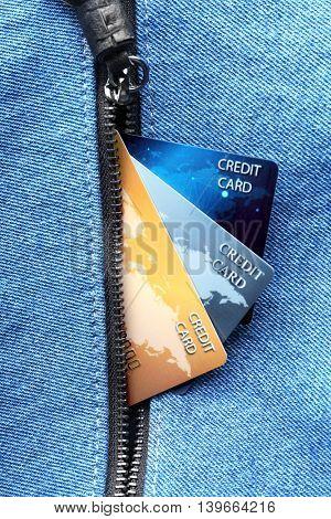 Credit cards in pocket, closeup