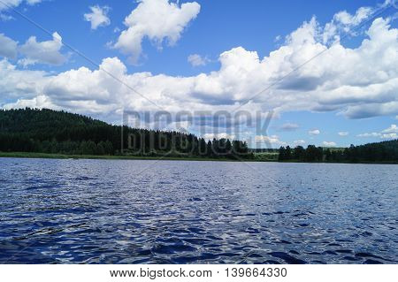 A lake during a beautiful sunny day