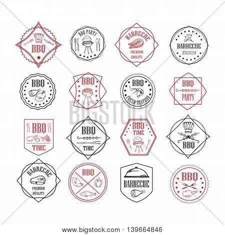 Illustration set of BBQ labels. Set of grill design elements. BBQ badges stickers and labels food set.