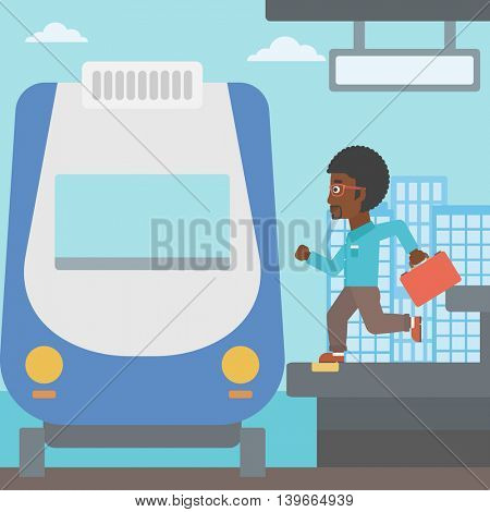 An african-american latecomer man with briefcase running along the platform to reach the train. Hipster man came too late at train station. Vector flat design illustration. Square layout.