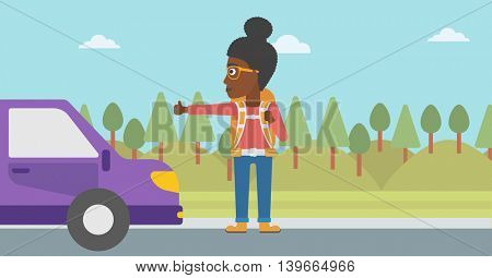 An african-american young woman with backpack hitchhiking on roadside. Hitchhiking woman trying to stop a car on the road. Vector flat design illustration. Horizontal  layout.