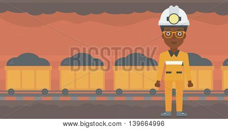 African-american confident coal miner. Female miner in hardhat with torch. Miner standing on the background of mining tunnel with cart full of coal. Vector flat design illustration. Horizontal layout.