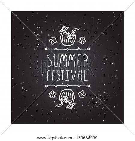 Hand-sketched summer element with coconut cocktail and flowers on blackboard background. Text - Summer festival