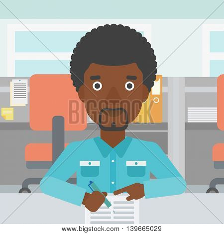 An african-american businessman signing business documents in office. Man is about to sign a business agrement. Confirmation of business transaction. Vector flat design illustration. Square layout.
