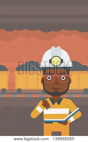 An african-american miner checking documents with the flashlight. Mine worker in hard hat on the background of mining tunnel with cart full of coal. Vector flat design illustration. Vertical layout.