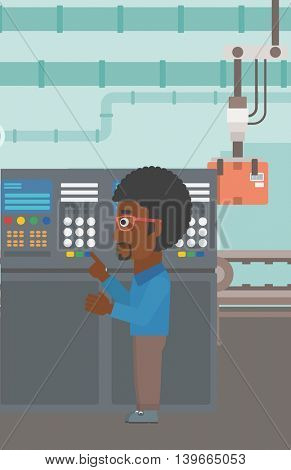 An african-american man working on control panel. Man pressing button at control panel in plant. Engineer standing in front of the control panel. Vector flat design illustration. Vertical layout.