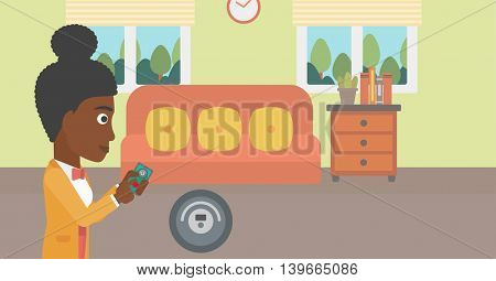 An african-american woman controlling robot vacuum cleaner with smartphone. Woman holding remote control of robotic vacuum cleaner in living room. Vector flat design illustration. Horizontal layout.