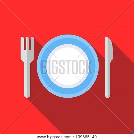 Plate with fork and knife icon in flat style with long shadow. Dishes symbol
