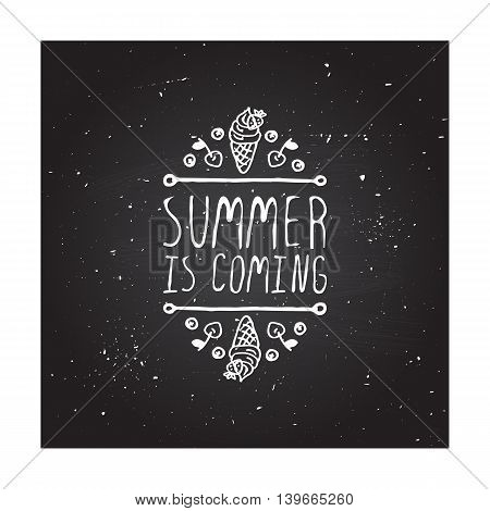 Hand-sketched summer element with flippers and starfish on blackboard background. Text - Summer is three month of fun
