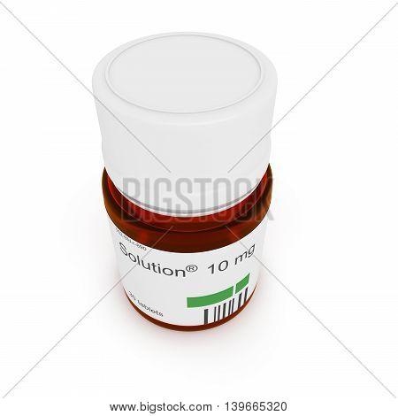 Pill bottle: Solution 10 mg 3d illustration