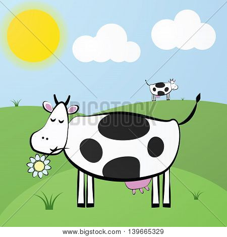 Funny Vector Cute Cartoon White Cow