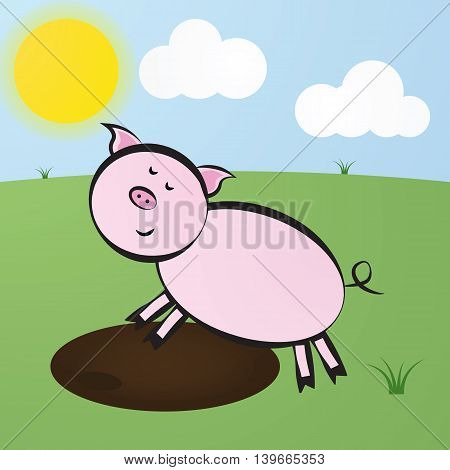 Funny Vector Cute Cartoon Pink Pig Jump Into The Puddle Of Mud