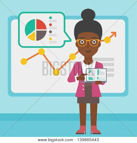 An african-american business woman pointing at charts on laptop screen. Woman presenting report with a laptop on the background of board with graph. Vector flat design illustration. Square layout.