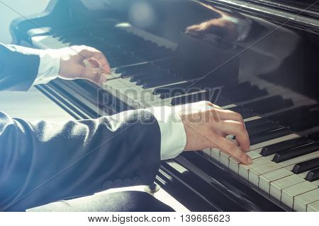 Musician playing piano