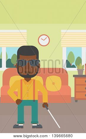 An african-american blind man in dark glasses standing with walking stick in the living room. Vector flat design illustration. Vertical layout.