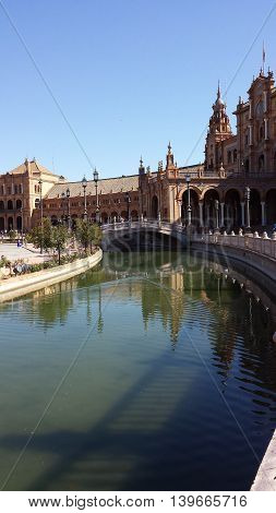 Plaza de Espana in Seville on a sunny day, Spain.