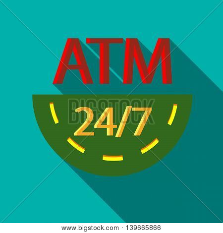Round-the-clock ATM icon in flat style with long shadow. Withdrawal of currency symbol