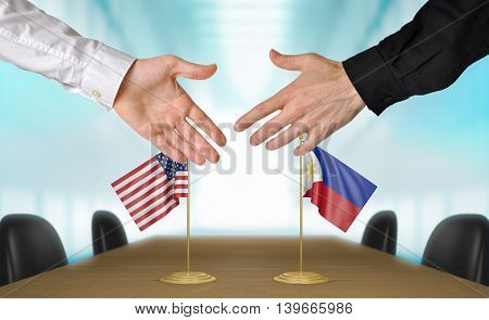 United States and Philippines diplomats shaking hands to agree deal, part 3D rendering