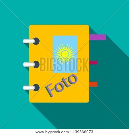Photo album icon in flat style with long shadow. Storing images symbol