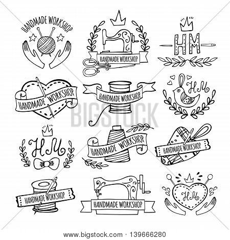 Set of hand drawn logos for sewing workshop